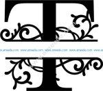 Flourished Split Monogram T Letter