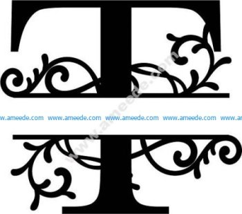 Flourished Split Monogram T Letter