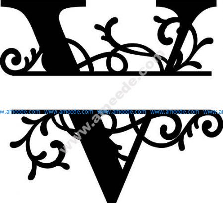 Flourished Split Monogram V Letter