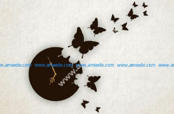 Laser Cut Butterfly Wall Clock
