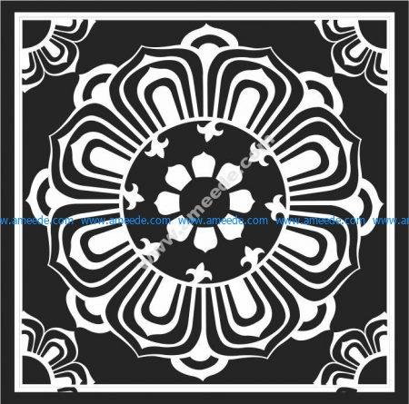 Lotus patterned square pattern
