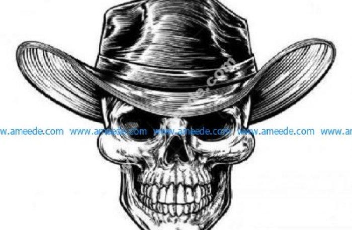 Realistic cowboy skull