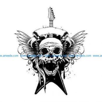 Screaming winged guitar skull