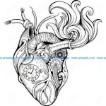 Steampunk style cog realistic heart