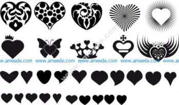 Vector Hearts Silhouettes