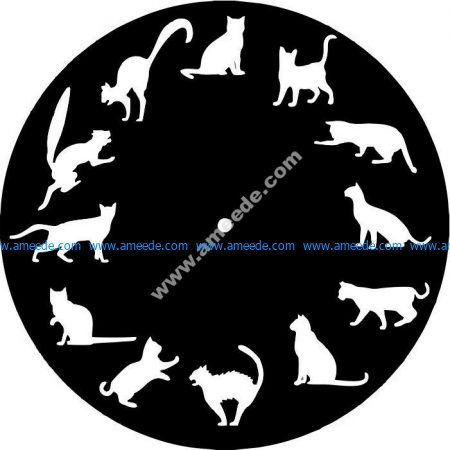 clock with 12 standing postures of the cat