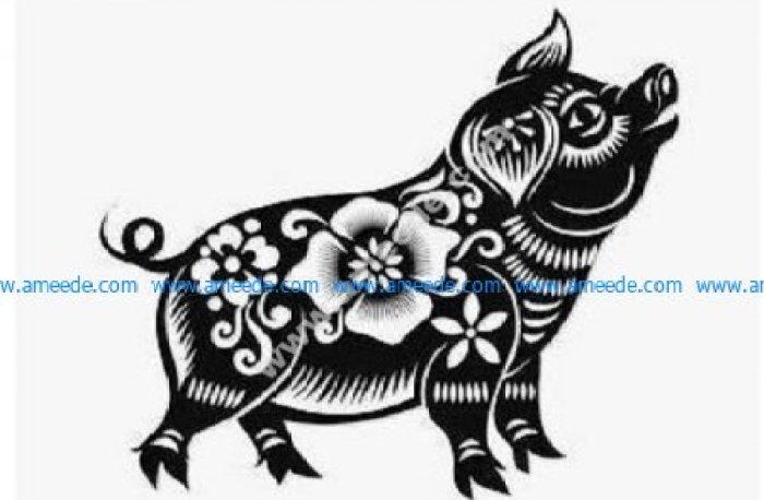 Cute flower pig
