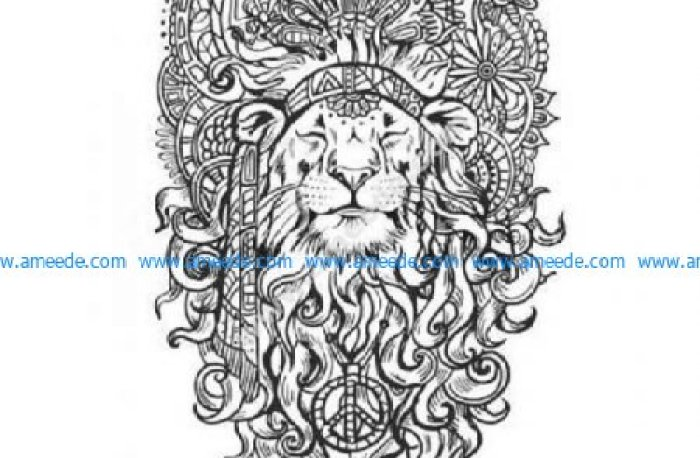 Hippy zen lion peace
