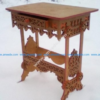 Laser Cut Table with Drawer