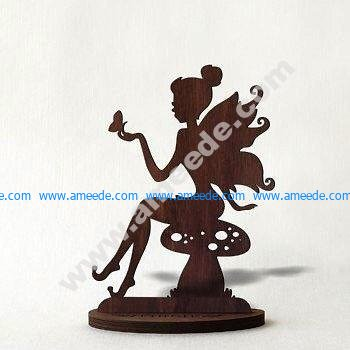 Laser Cut Sitting Girl Stand Home Decor