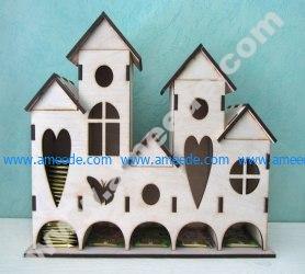 Laser Cut Tea House, Tea Holder Box Castle