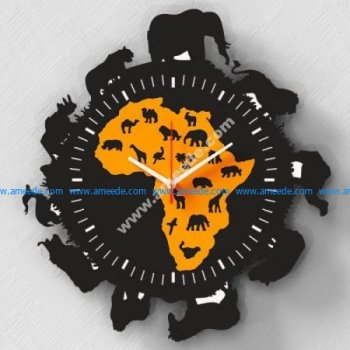 Laser Cut Africa Wall Clock