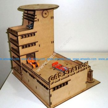 Laser Cut Gas Station Parking Garage 3mm