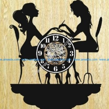 clock shape two girls