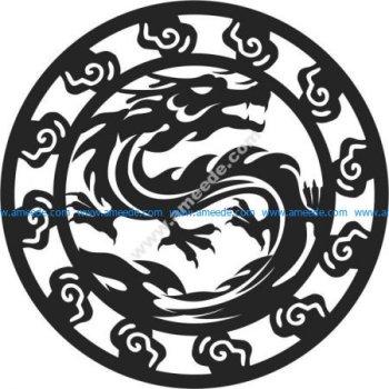 pattern of dragon-shaped circular tray