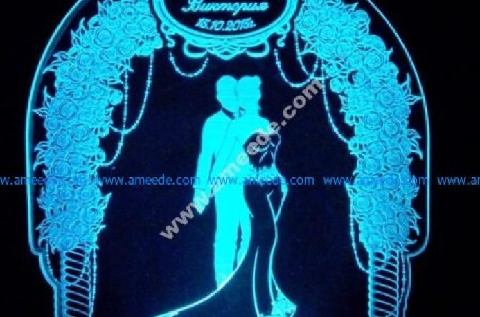 3d illusion lights celebrate the marriage day