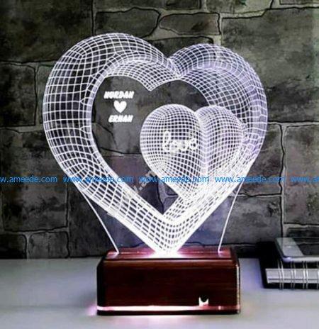 3d led 2 hearts