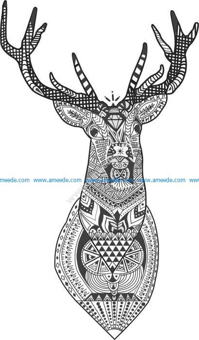Floral Deer Head