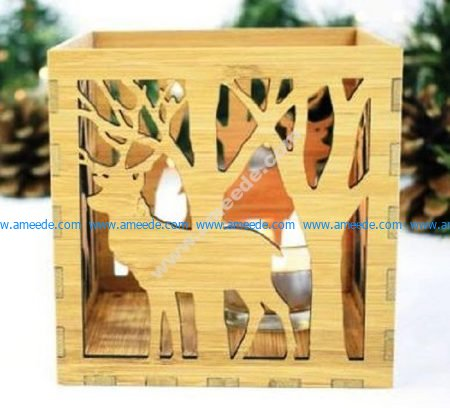 Laser Cut Box Lamp Deer In The Forest