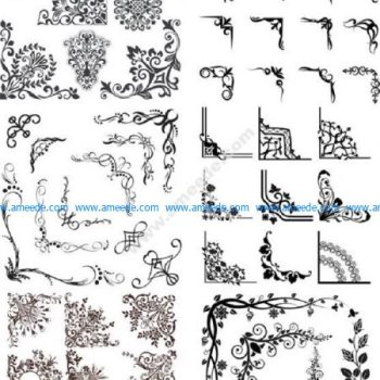 Vintage Ornaments Corners Vector Set