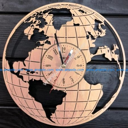 Wooden clock shaped earth