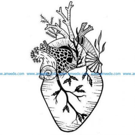 Anatomical surreal heart garden
