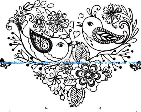 Decorative hearts birds and flowers