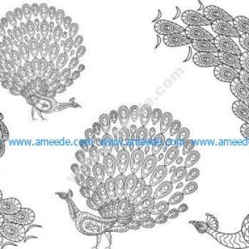 peacocks vector set