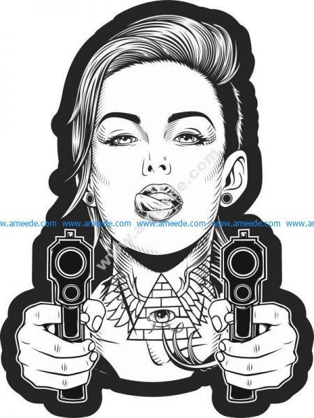 Beautiful girl with two guns