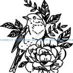 Floral pattern and laser engraving birds