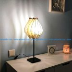 Night light with a wooden cage design