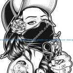 girl with gun vector art