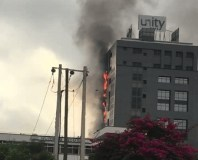 Unity Bank Corporate Office on fire In Lagos