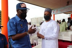 Lagos State Governor, Babajide Sanwo-Olu and Director General, NIMASA, Dr. Bashir Jamoh, Unveils 102 new waste collection trucks and 100 Double Dino bins