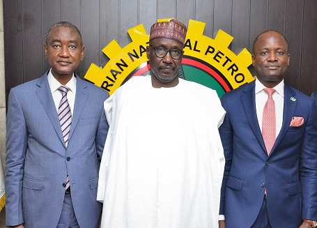 Chairman, Nigerian Exchange Limited, Mr.AbubakarBalarabeMahmoud, Group Managing Director, Nigerian National Petroleum Corporation, Mr. Mele Kolo Kyari; and Chief Executive Officer, Mr. Temi Popoola, during a courtesy visit to NNPC