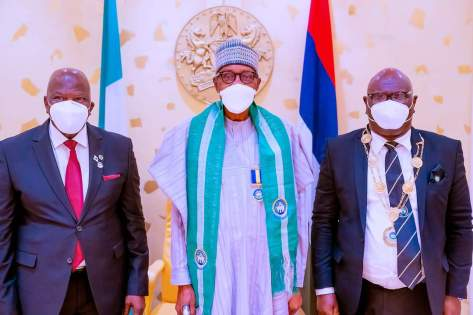 President Muhammadu Buhari receives in courtesy visit the Governing Council of the Chartered Insurance Institute of Nigeria in State House
