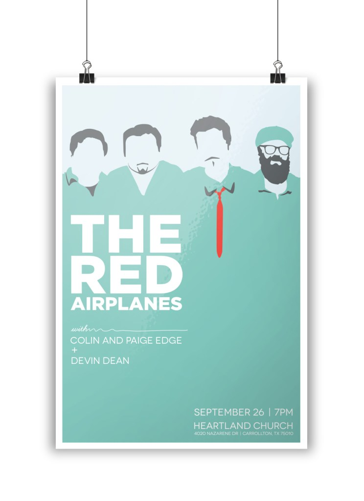 Mockup of a poster designed by Amelia Leicht for The Red Airplanes.