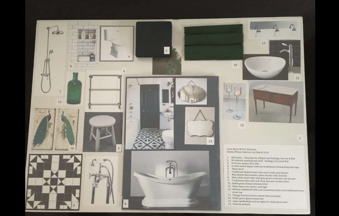 Bathroom design moodboard