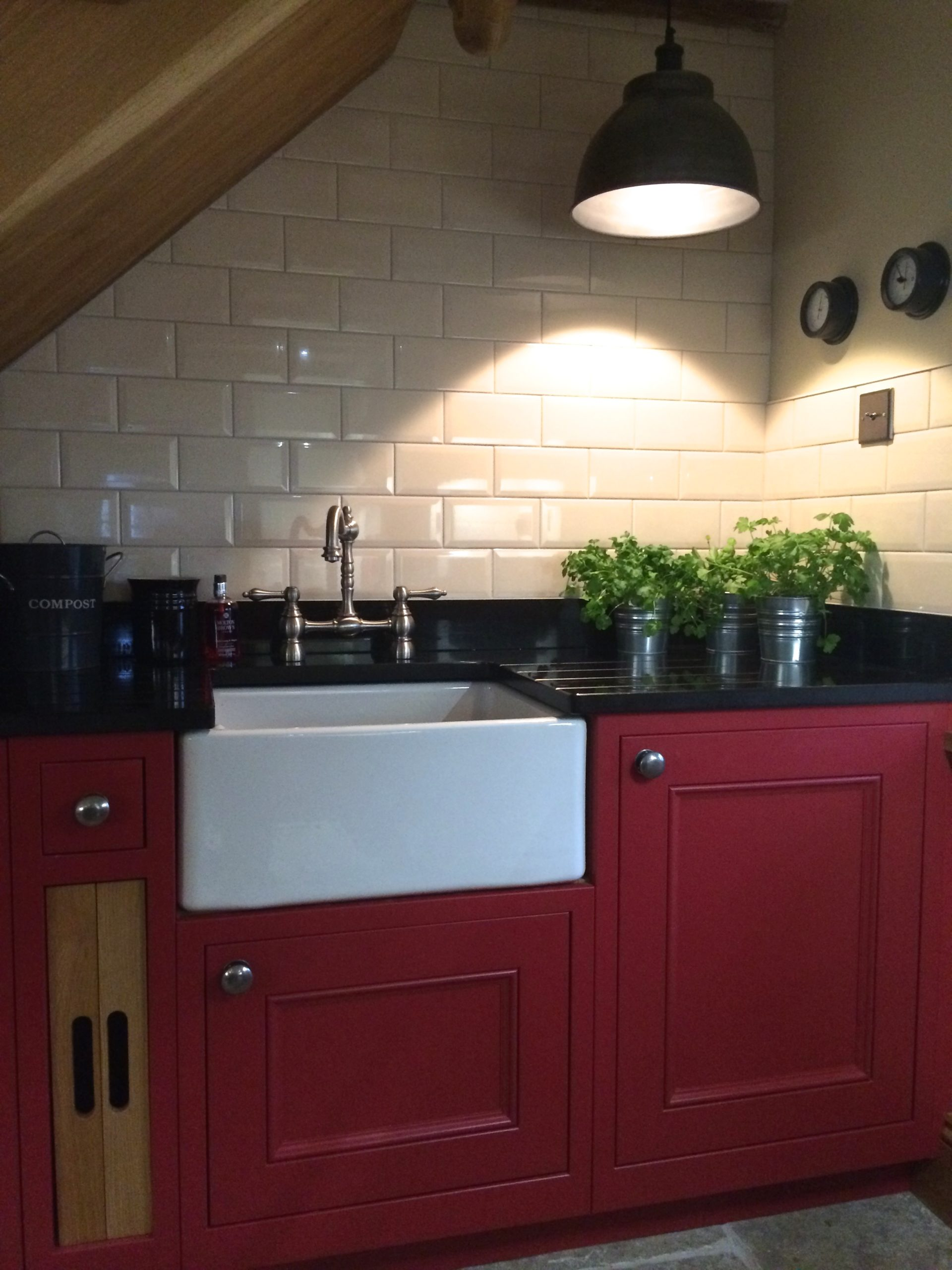 Industrial lighting rectory red kitchen traditional shaker style kitchen
