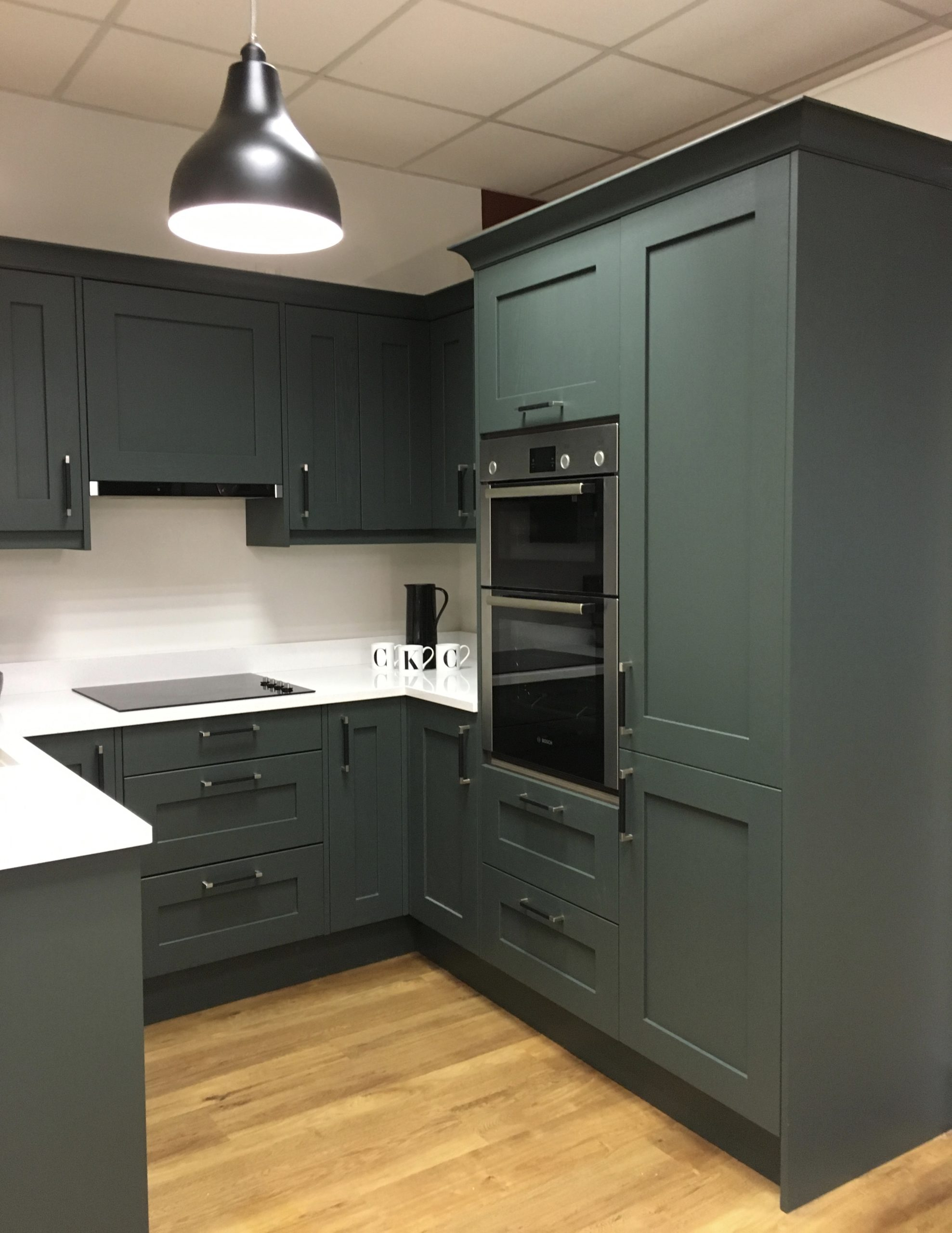 Mornington shaker style kitchen in Copse Green by PWS with white Maple Blanco silestone worktop