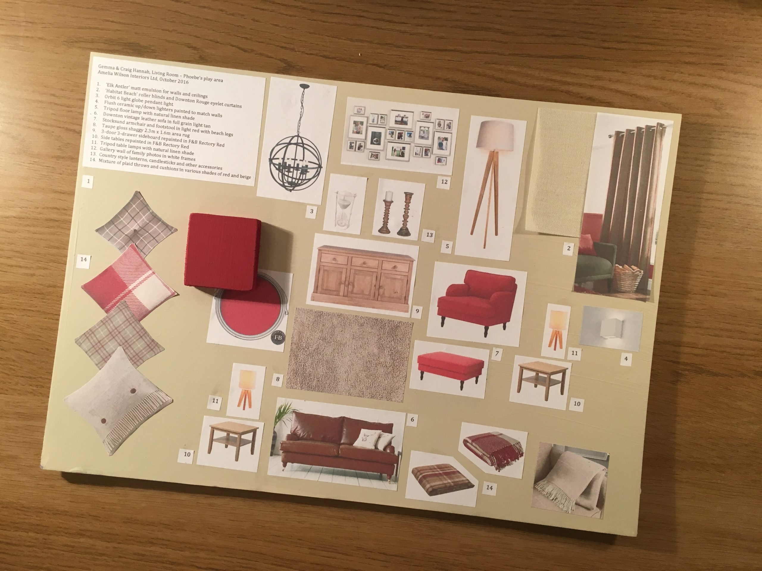 Moodboard for living room project created by Amelia Wilson Interiors Ltd