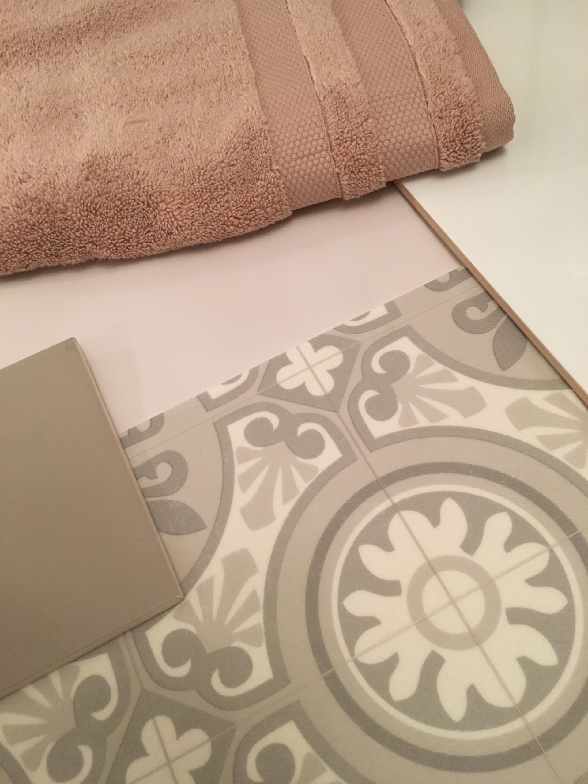 A sheet vinyl that looks like Victorian tiling - Beauflor Ultratrip Buzz Lisbon vinyl flooring shown here with the other samples for one of the bathrooms I am designing