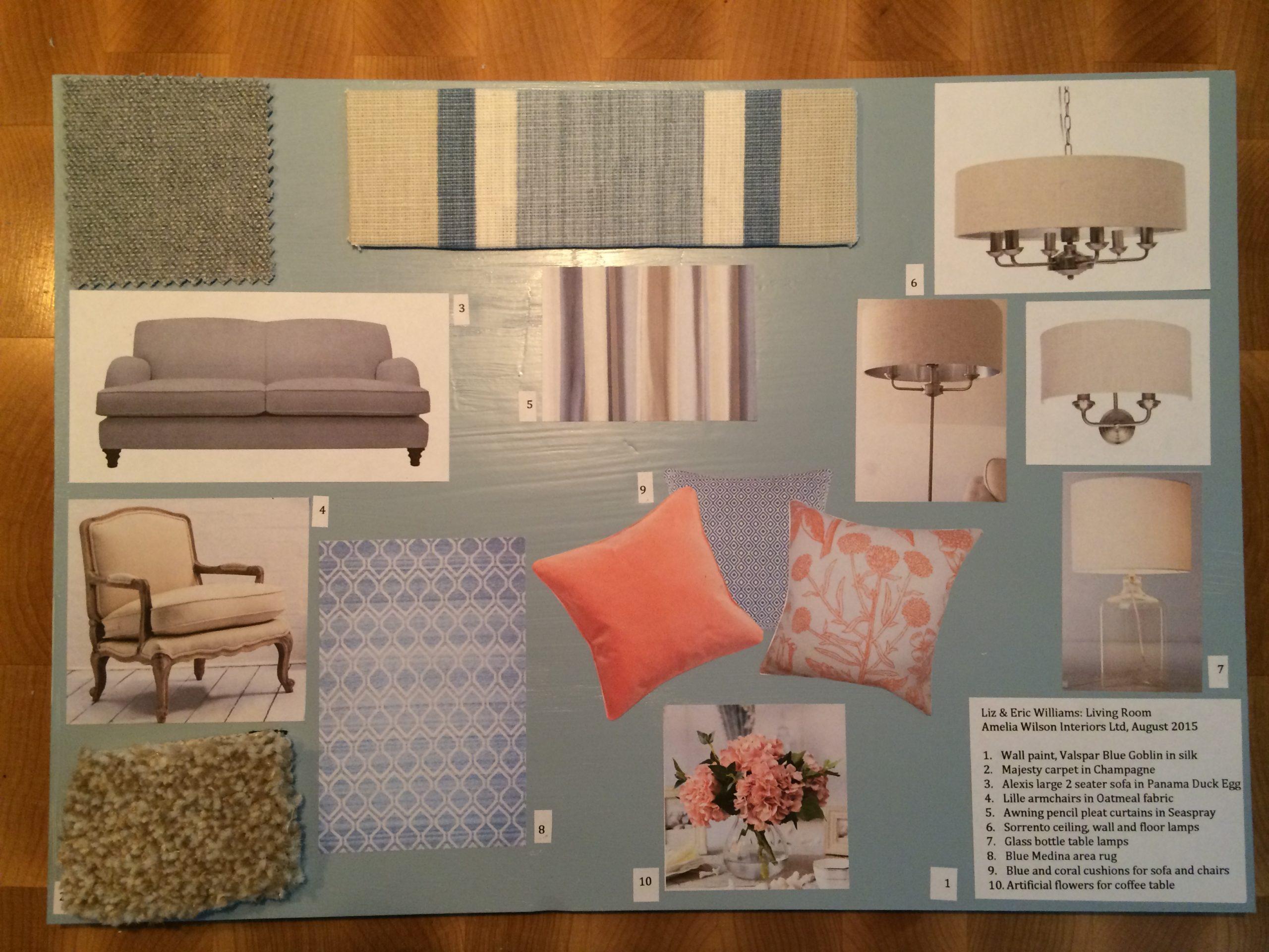Living room mood board by Amelia Wilson Interiors Ltd