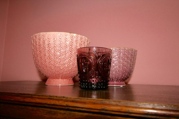 Pink and purple bowls and purple tea light holder from Homesense