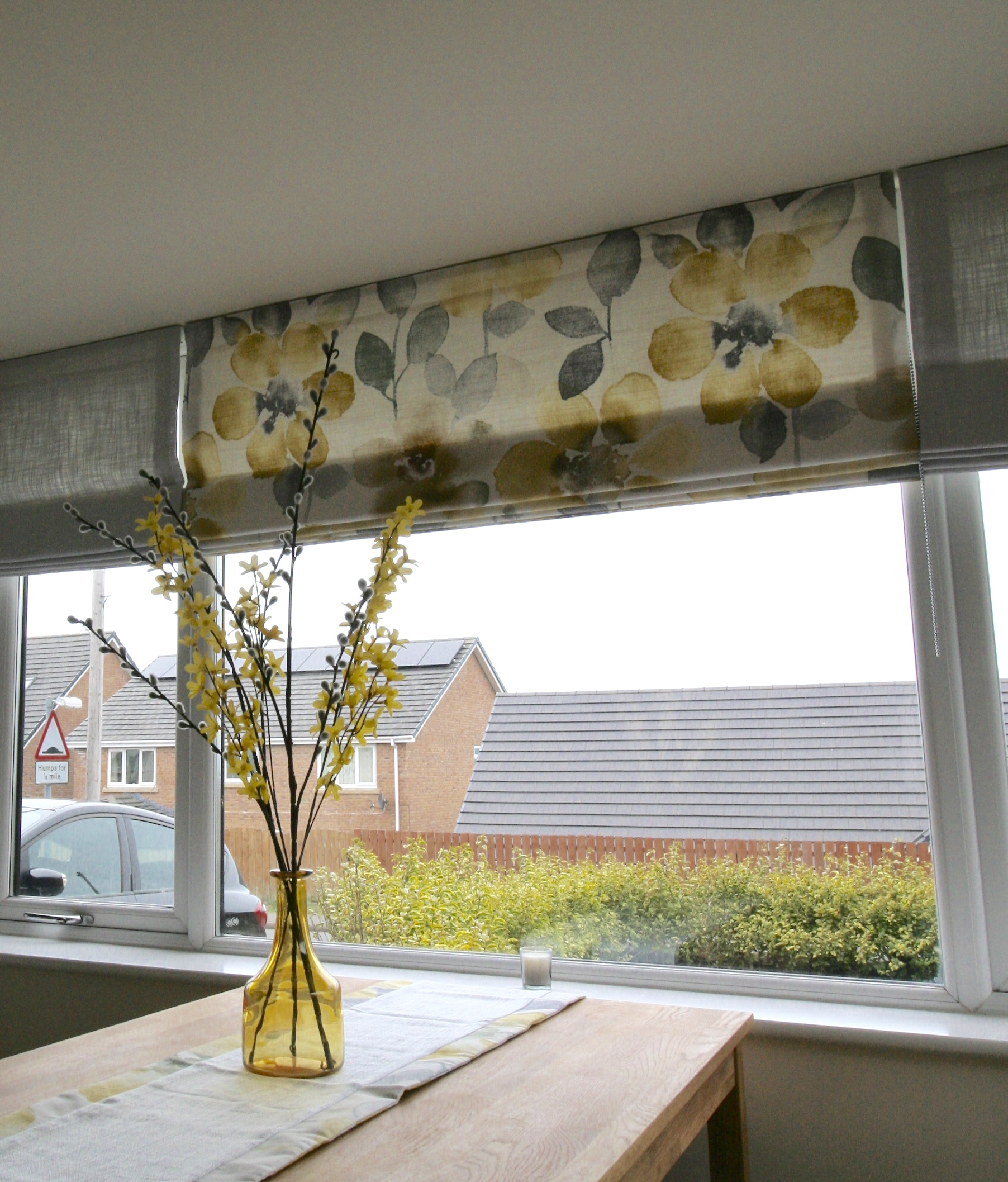 Roman blinds using Watercolour Bloom fabric from Next and Dove Grey fabric from Laura Ashley
