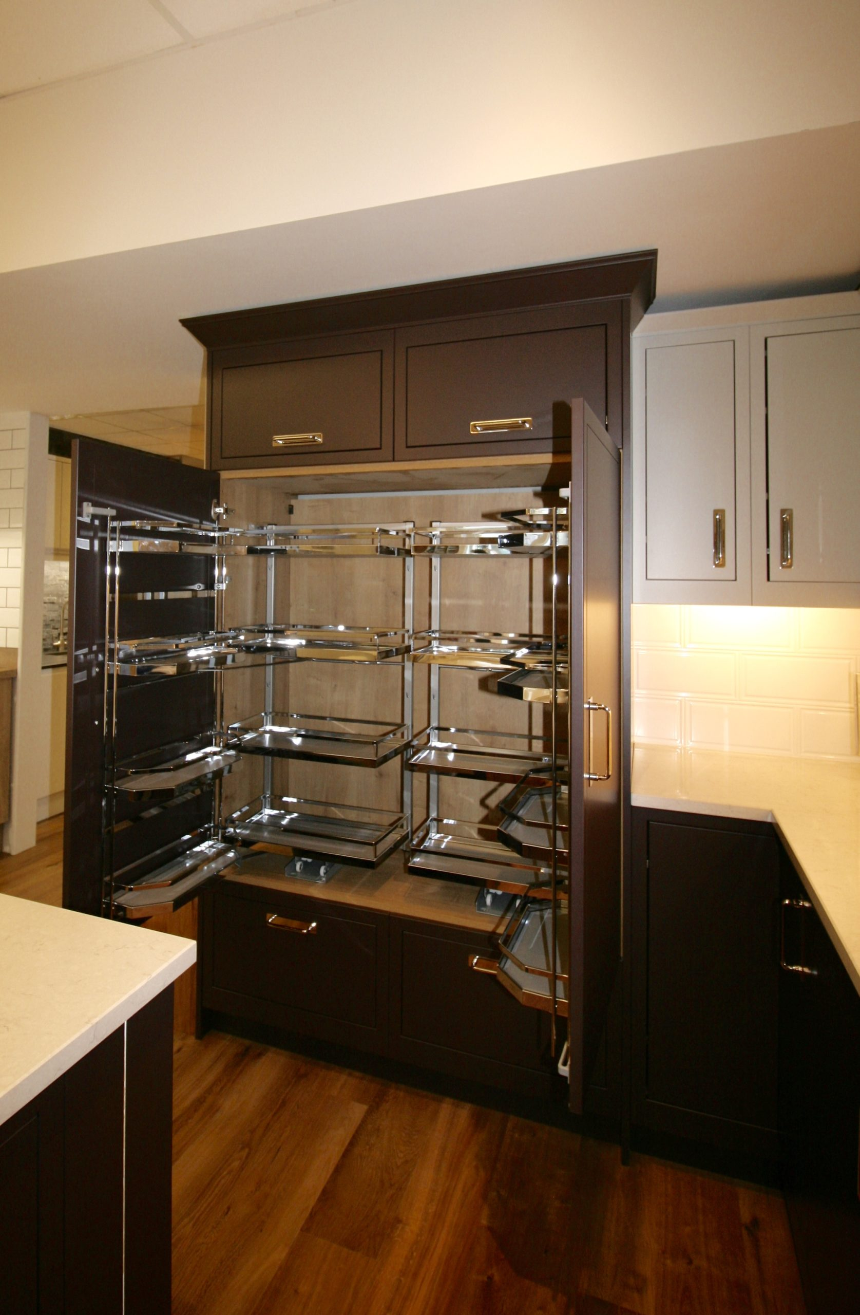 Pull out storage in the larder unit, which will be backlit