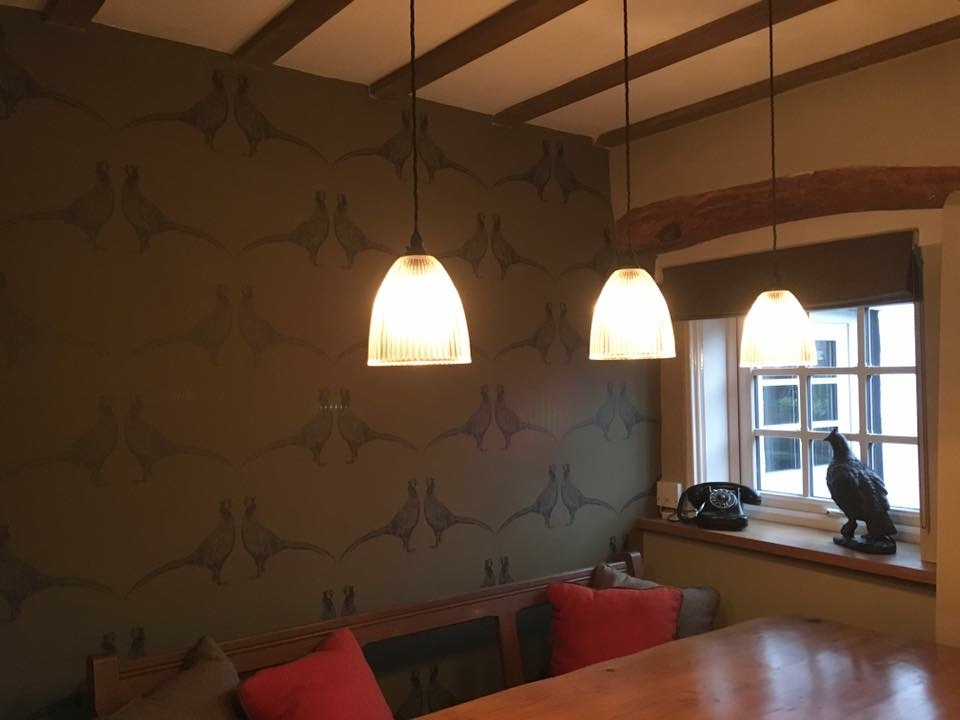 Vintage ribbed glass lights pheasant wallpaper church furniture dining room