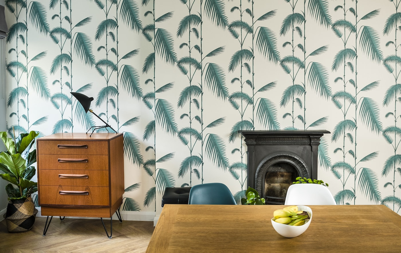 Palm Leaf Wallpaper in Private Residence in Windermere