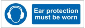 'Ear protection must be worn' sign in the bedroom of a young drum player, sourced from a company that supplies construction companies.
