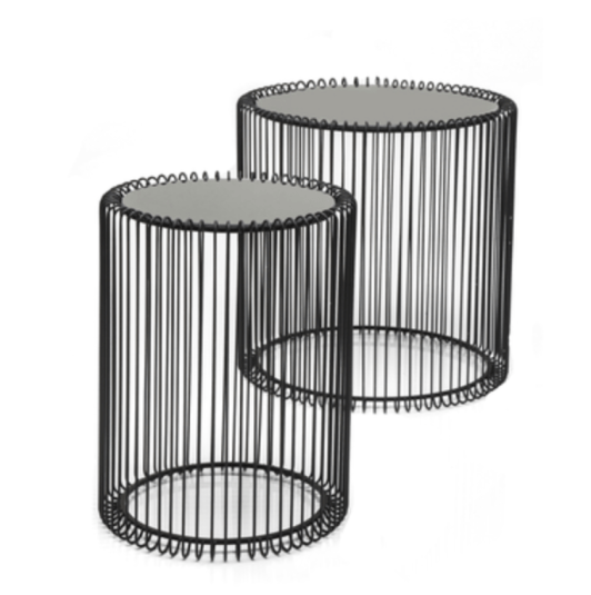 Black wire cage side tables from Dwell